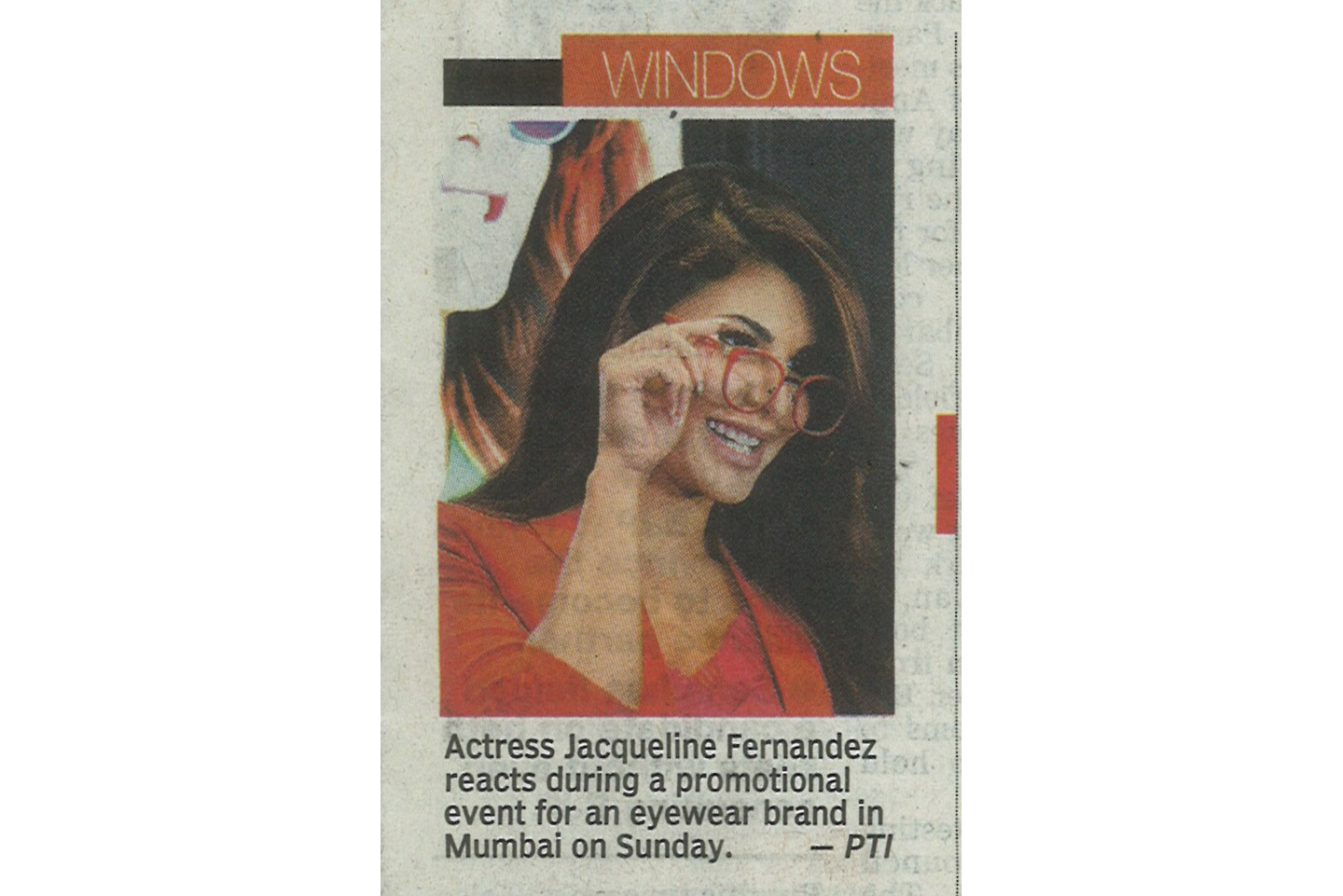 Jacqueline Fernandez during a promotional event of Nova Eyewear